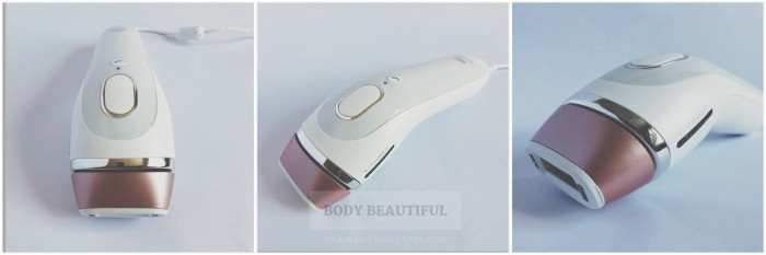 Front, top and side view photos of the white and rose gold Braun Silk Expert 5 device