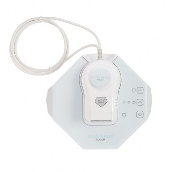 Iluminage Touch whiteand pastel blue base unit, thick white cable attached to the small white hand-held wand