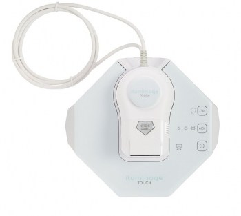 Iluminage Touch pastel blue base unit, thick white cable attached to the small white hand-held wand