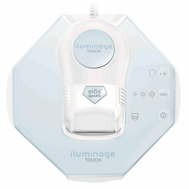 Top down view of the Iluminage Touch showing the pale blue mirror-like surface, simple controls and the applicator cradled in the centre.