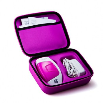 The Silk'n Flash&Go Compact device and power pack / cable fit suggly inside the sturdy pink storage case.