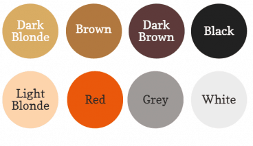Body hair colour circles: Black, Dark brown, brown, dark blonde, light blonde, red, grey and white.