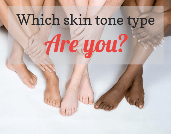 3 ladies' crossed legs from light to dark skin: Which skin tone type are you?