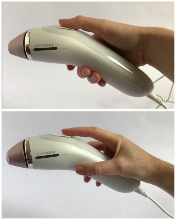 2 photos of a hand holding the Braun IPL device demonstrating the 2 grips.