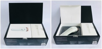 2 photos, the first of the 2 smaller white boxes with clean images of their contents, inside the main black packaging box. The second image shows the lid opened on the Braun IPL white box with the IPL device inside protective, clear-moulded plastic