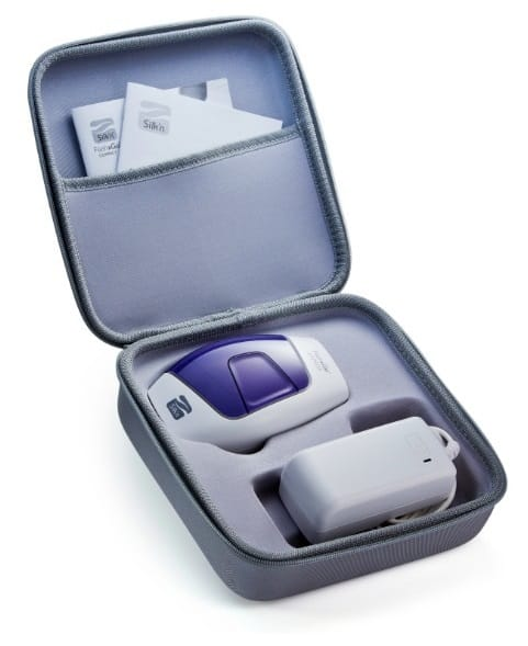 Grey, protective zip-up storage case with Silk'n Flash&Go Express and power adaptor tucked away safely.