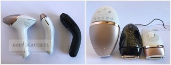 First photo shows the different shapes of the Lumea BRI956, Silk Expert 5 IPL and Smoothskin Muse as they lie on the sides. The second photo shows the controls on top of each devices