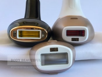 Close up of the 3cm2 Smoothskin Muse flash window, and the large 4.1 cm2 body flash window and smaller facial 2cm2 flash window that come with the BRI956