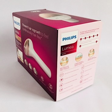 Side view of the Philips Lumea Prestige BRI956 box showing the recommended schedule, how IPL works and the key features of the device