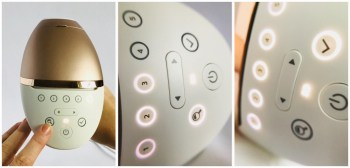 3 images showing how the Smartskin sensor works. The magnify glass button activates the sensor, the 1 to 5 intensity level indicators illuminate white in a round as it works. The 'tick' button lights-up white once it is done along with the maximum appropriate intensity indicators. Press the 'tick' button to choose it.