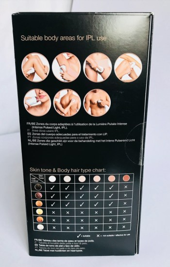 Side of the Braun Silk expert IPL box showing 7 circular images of the suitable body areas (legs, underarms, bikini line, forearms, face, men's back, men's torso) and a skin tone and hair colour combination chart where ticks indicate suitability.