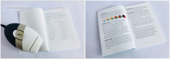Photo of the Bare IPl next to the small user manual booklet, and the booklet open at the large print warnings