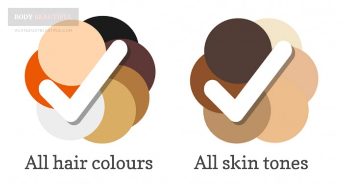 Colour wheels showing the hair colours from black through brown, grey, red and blonde, and Fitzpatrick skin tones from lightest to darkest / black.