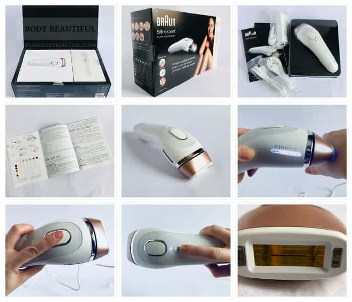 9 photos of the Braun Silk Expert 5 IPL showing the packaging, box contents, user manual, the device from different angles and in the hand, and the 3cm2 flash window with skin tone sensors on either side.