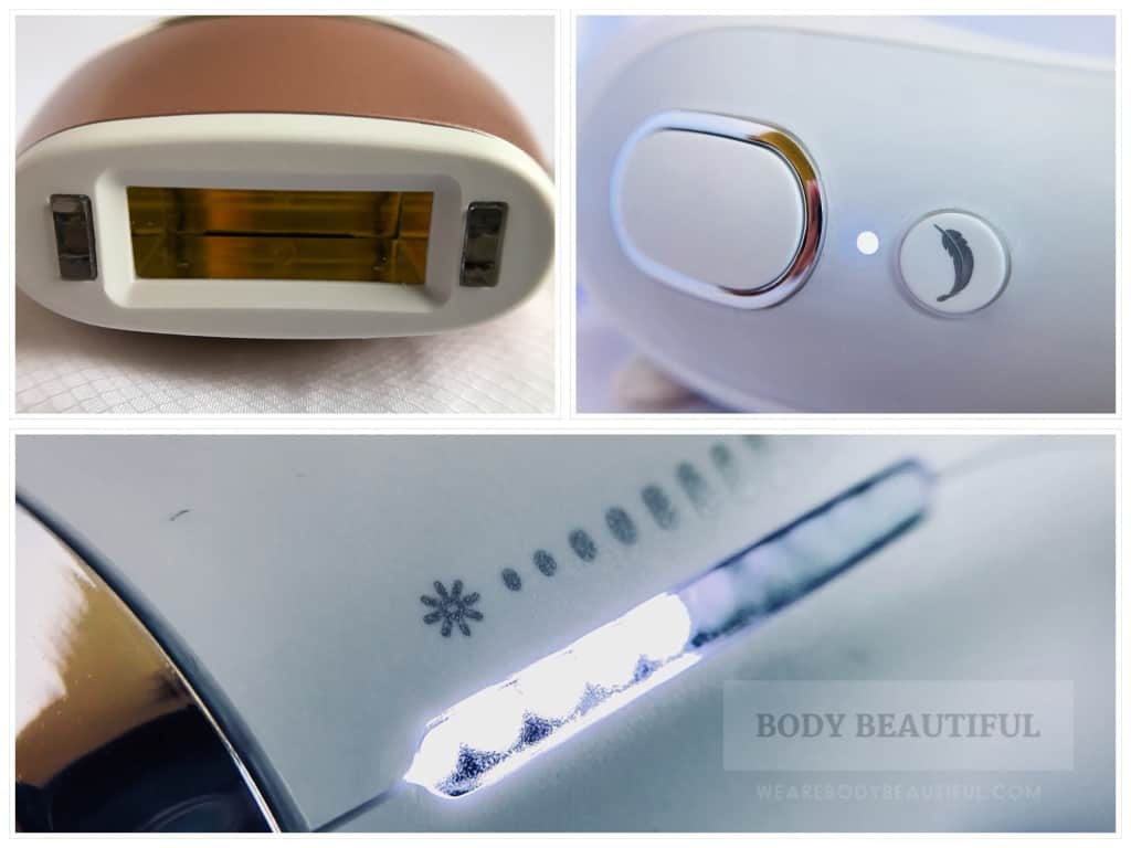 3 photos of the Venus Silk expert 5 IPL showing the flash window and skin tone sensor windows, flash button and gentle mode 'feather' button, and the IPL energy intensity level indicator lights