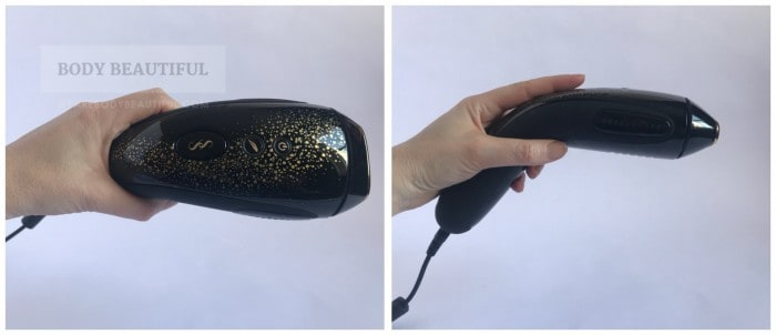 2 photos of the Muse. The first shows the placement of the flash button, the 'gentle' mode button and power button. The second shows a hand gripping the Muse with the index finger naturally resting on the flash button (just a bit above of the curved handle).