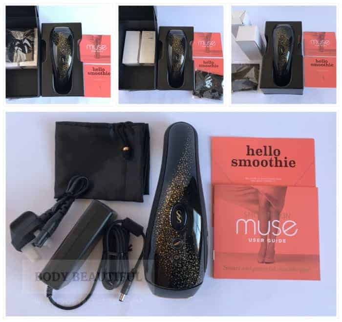 photos showing the contents of the Smothskin Muse box as it was unpacked. The largest image shows the contents without any protective packaging.