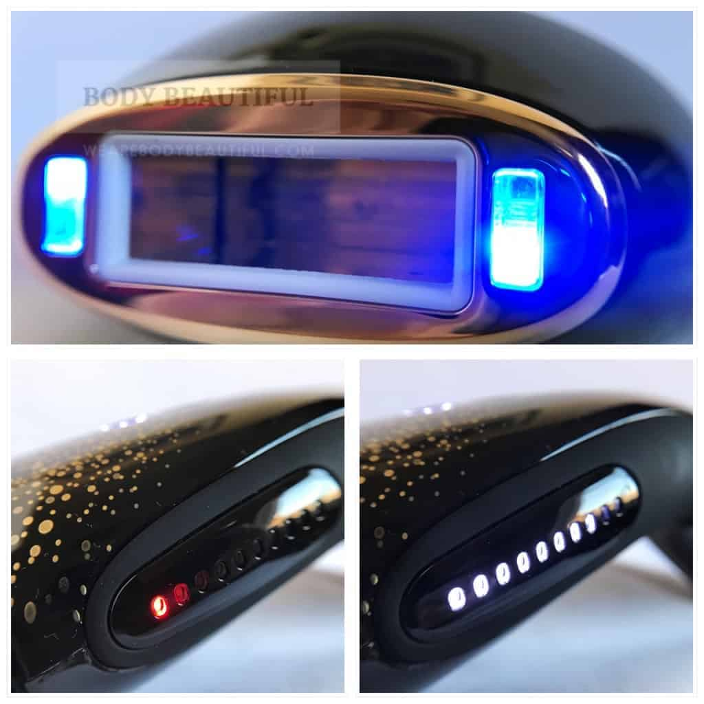 photos of the Smoothskin Muse showing the active skin tone sensors illuminated blue, the intensity indicators showing red (not safe for treatments) and then illuminating white to the appropriate intensity for the skin tone.