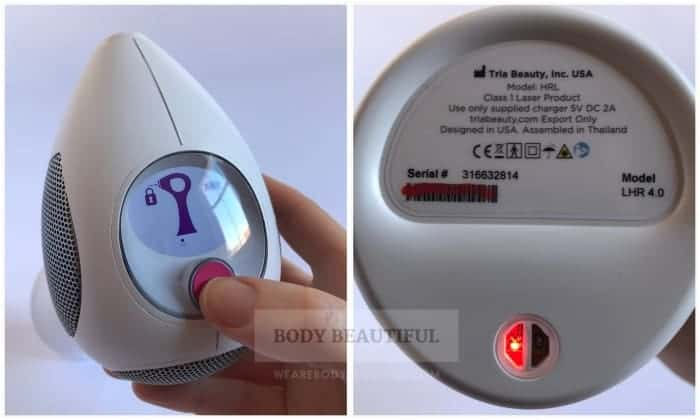 Photo showing the skin tone sensor is ready and a close up of the small red skin tone sensor light on the bottom of the Tria handle