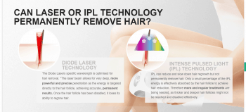 CAN LASER OR IPL TECHNOLOGY PERMANENTLY REMOVE HAIR? 1) DIODE LASER TECHNOLOGY: The Diode Lasers specific wavelength is optimised for hair removal. *The laser beam allows for very deep, more powerful and precise penetration as the energy is targeted directly to the hair follicle, achieving accurate, permanent results. Once the hair follicle has been disabled, it loses its ability to regrow hair. 2) INTENSE PULSED LIGHT (IPL) TECHNOLOGY: IPL can reduce and slow down hair regrowth but not permanently remove hair. Only a small percentage of the IPL energy is effectively absorbed by the hair follicle to achieve hair reduction. Therefore more and regular treatments are being needed, as thicker and deeper hair follicles might not be reached and disabled effectively.
