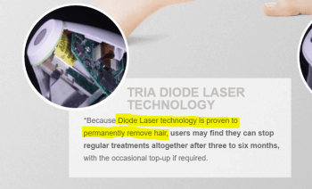 "Screen grab from Triabeauty.co.uk (Feb 2019) reading ""*Because Diode Laser technology is proven to permanently remove hair, users may find they can stop regular treatments altogether after three to six months, with the occasional top-up if required."""