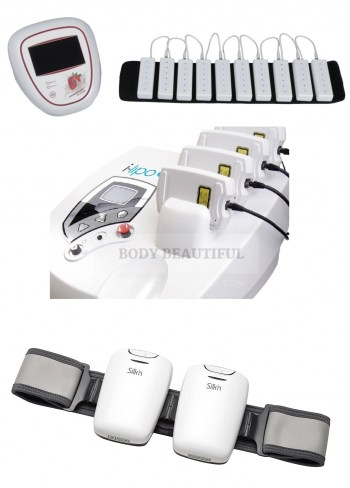 Top image of the Strawberry Laser Lipo machine, middle image of the iLipo machine, bottom image of the Silk'n Lipo attached to the larger body belt.