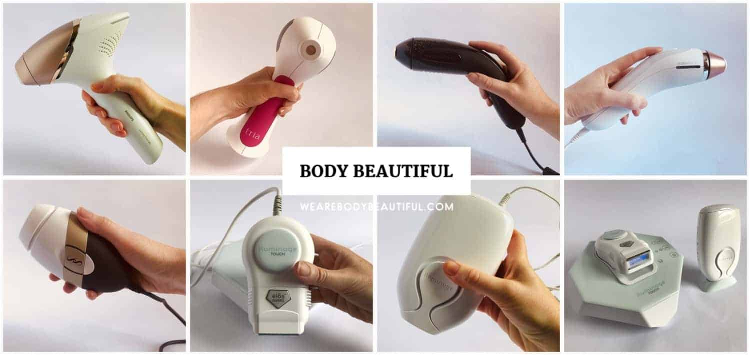 The best home IPL and laser hair removal devices (from top left): Philips Lumea Prestige BRI956, Tria 4X hair removal laser, Smoothskin Muse, Braun / Venus Silk expert 5 IPL, Smoothskin Bare ultrafast IPL, Iluminage Precise Touch RF & IPL, Iluminage Touch RF & IPL, the Luminage devices side by side.