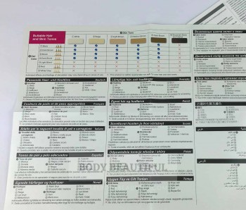 Close up of the skin tone and hair colour table for the Panasonic ES-WH90. It shows it's safe for all but the darkest skin tones.
