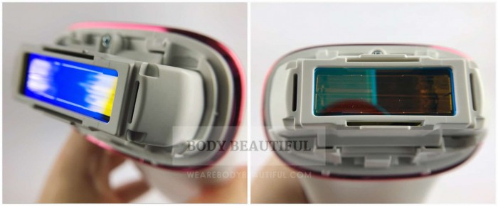 Close up photos of the Panasonic ES-WH90 flash window without attachments over the top.