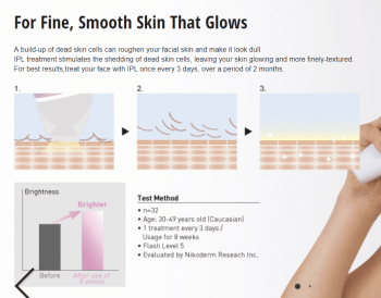 A snippet of the Panasonic ES-WH90 product page that explains (badly) how it works for facial rejuvenation / brightening.