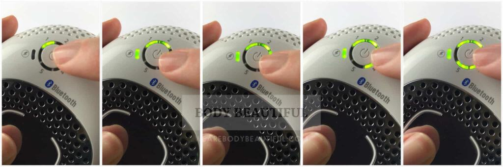 5 close up photos of a finger pressing the power button to select each intensity level in turn.