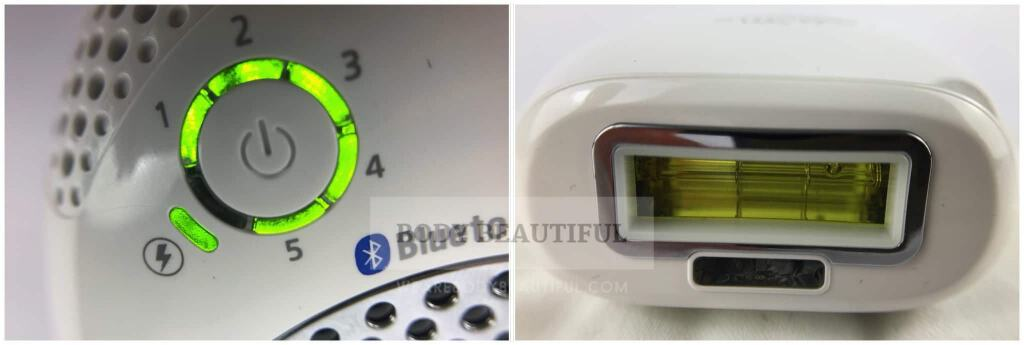 Close up photo of the intensity level indicator lights,lit up green in a wheel of segments from 1 to 5. Close up photo of the flash window with smaller, narrow skin tone sensor window below it.