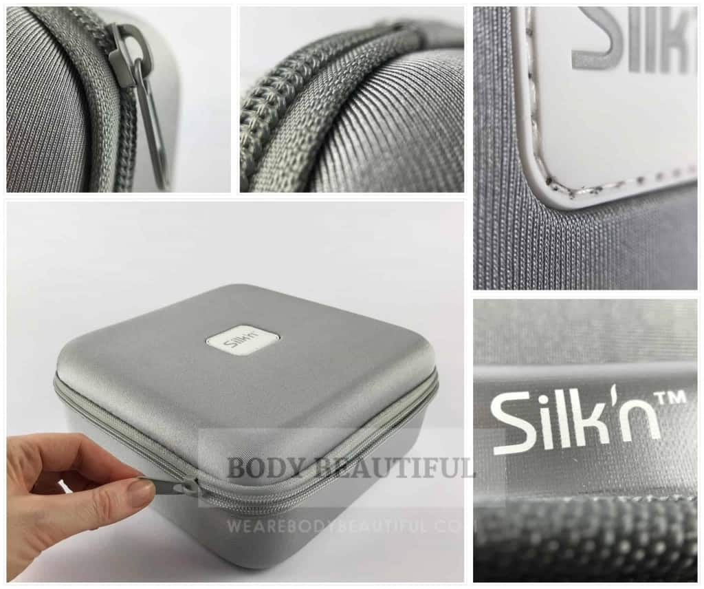 Various photos of the shimmery silver storage case. It's a thoughtful extra from Silkn.