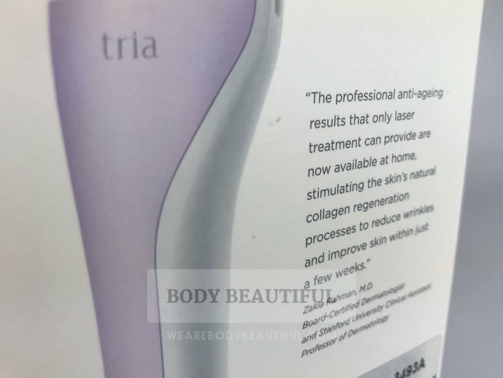 Close up photo of the dermatologist quote on the outside of the Tria age defying laser box