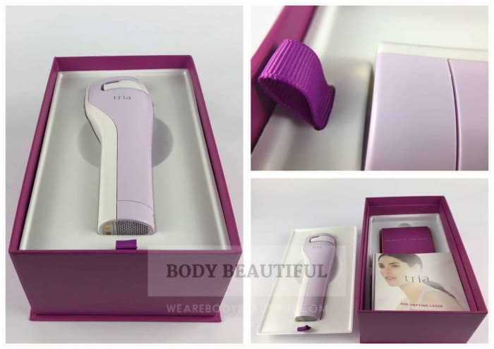 Multiple photos of the Tria box inside showing the magenta pull ribbon on the plastic mould, laser in the mould and contents underneath