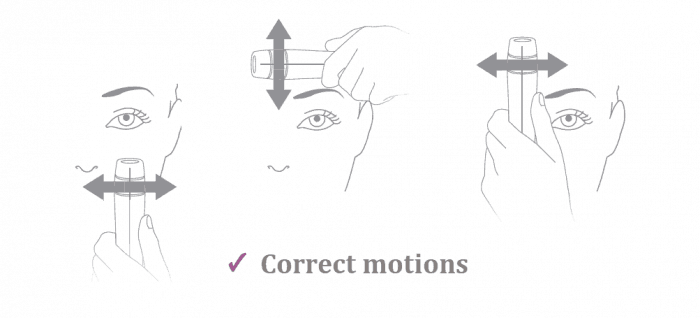 3 graphic illustrations showing how to slide the laser across the skin in the treatment zones