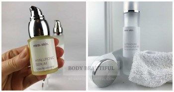 Photo of the Mira-skin Hyaluronic Acid bottle and the ultrasound wand with the conductive serum and a towel for hand wipeage.