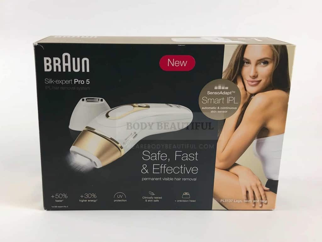 "Photo of the box front of the Braun Silk expert Pro 5 IPL. It notes it's for ""Safe, Fast & Effective permanent visible hair removal""."