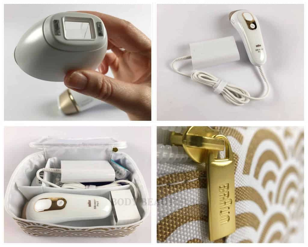 Photo collage of the precision attachment, IPL and fixed power cord and storage pouch.