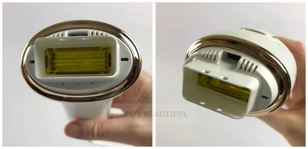 2 close up photos of the Braun IPL device without attachments in place.