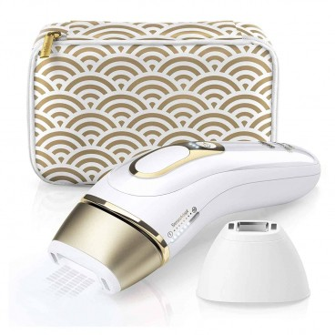 Photo of the white & gold Braun Pro IPL with body and precision attachments and gold and white printed storage pouch.