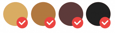 Hair colour swatches dark blonde, light brown, brown and black
