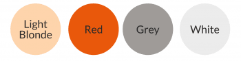 Colour circles showing light blonde, red, grey & white hair colours