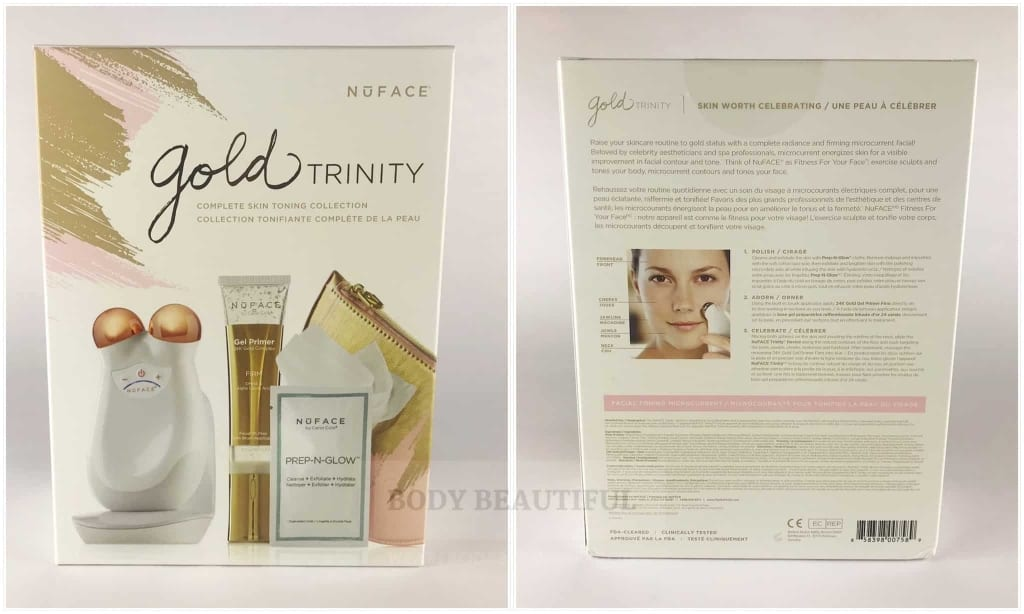 Photos of the box front and back of the Nuface Trinity Gold edition.