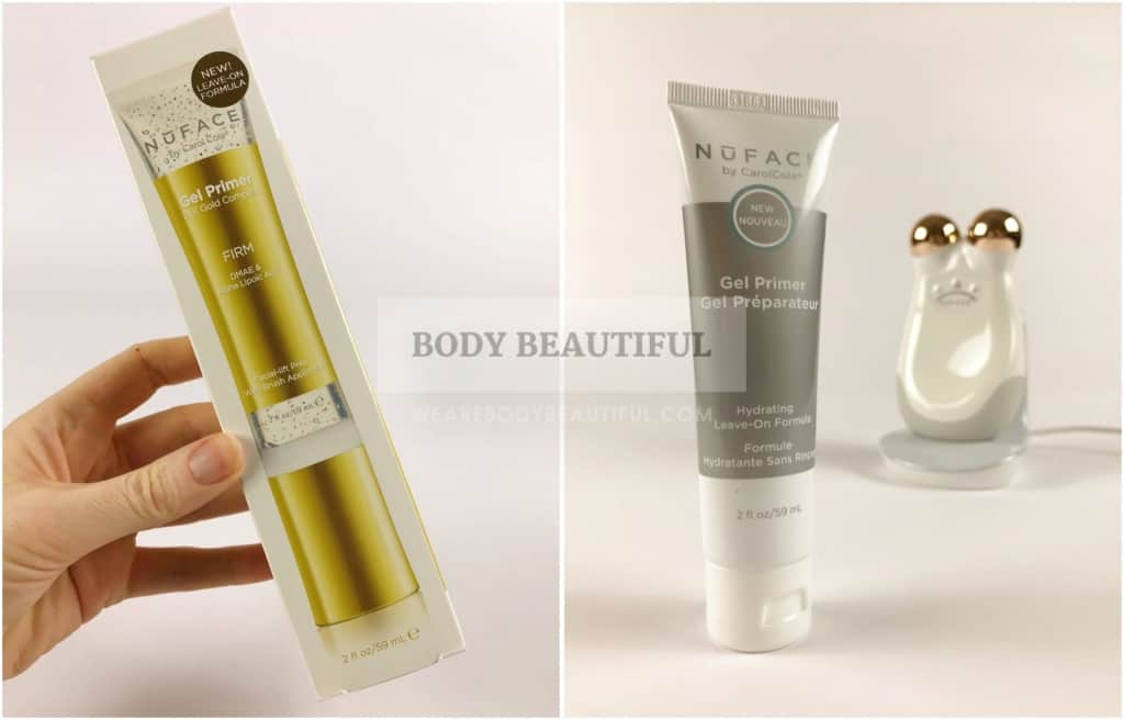 Photo of 24K Gold Firming gel box with picture of the gel on the front, and a second photo of the Hydrating gel, both from Nuface.