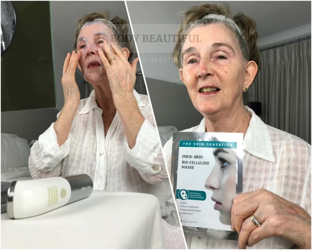 Photos taken during testing the Mira-skin hyper hydration sheet mask & ultrasound boost.