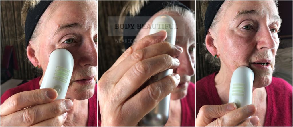 Photos showing my Mam using the Mira-skin ultrasound wand on her face