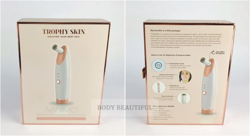 Neat & attractive rose-gold box of the MiniMD from Trophy Skin.