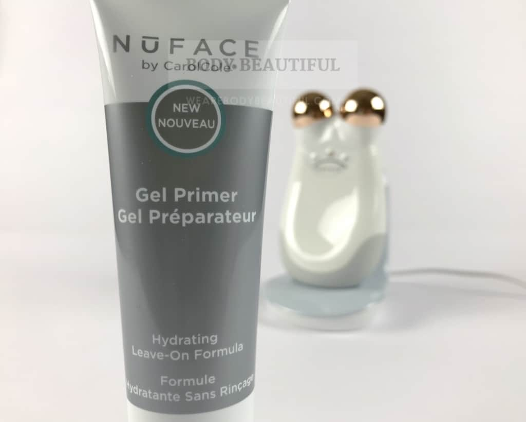 Close up of the Nuface hydrating primer gel tube
