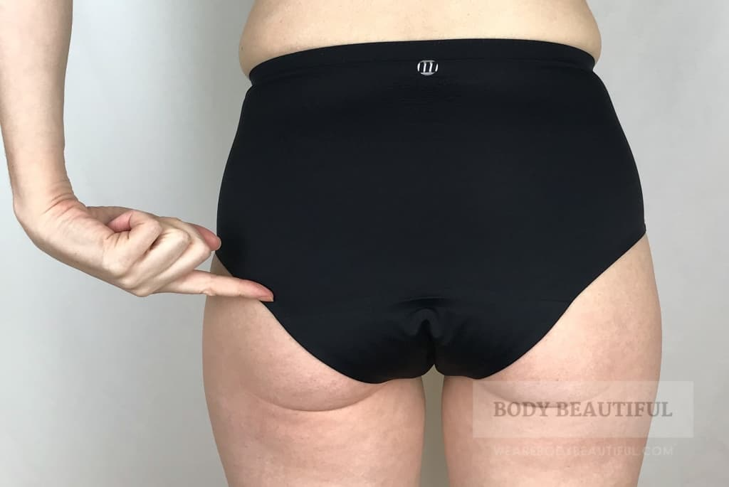 Rear view of the Modibodi seam freefull brief pants fit around the bum